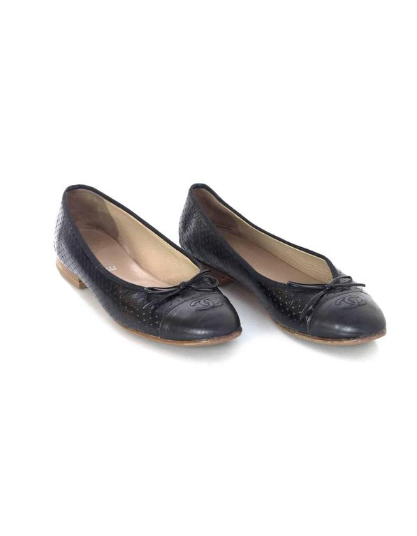 Chanel Black Leather Perforated Ballet Flats sz 41.5 4