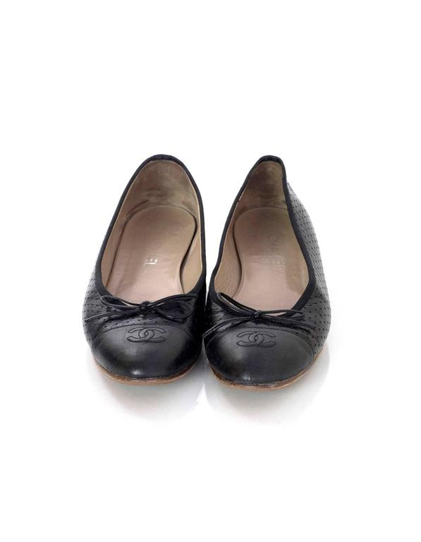 Chanel Black Leather Perforated Ballet Flats sz 41.5 3