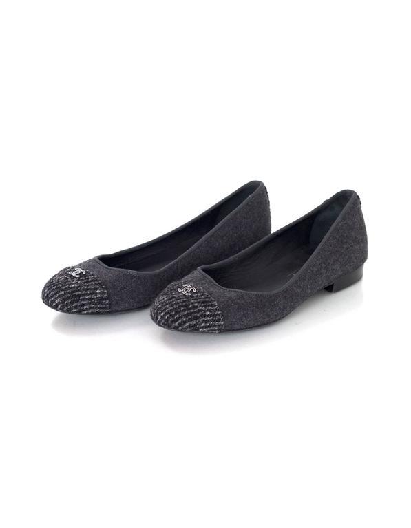 Chanel Grey Felted Ballet Flats sz 37 2