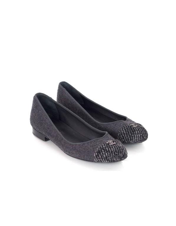 Chanel Grey Felted Ballet Flats sz 37 4