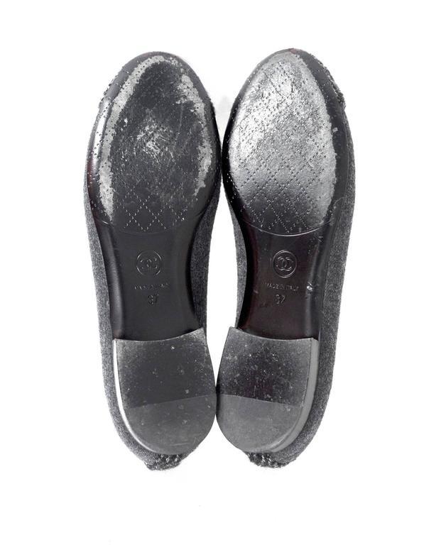 Chanel Grey Felted Ballet Flats sz 37 6