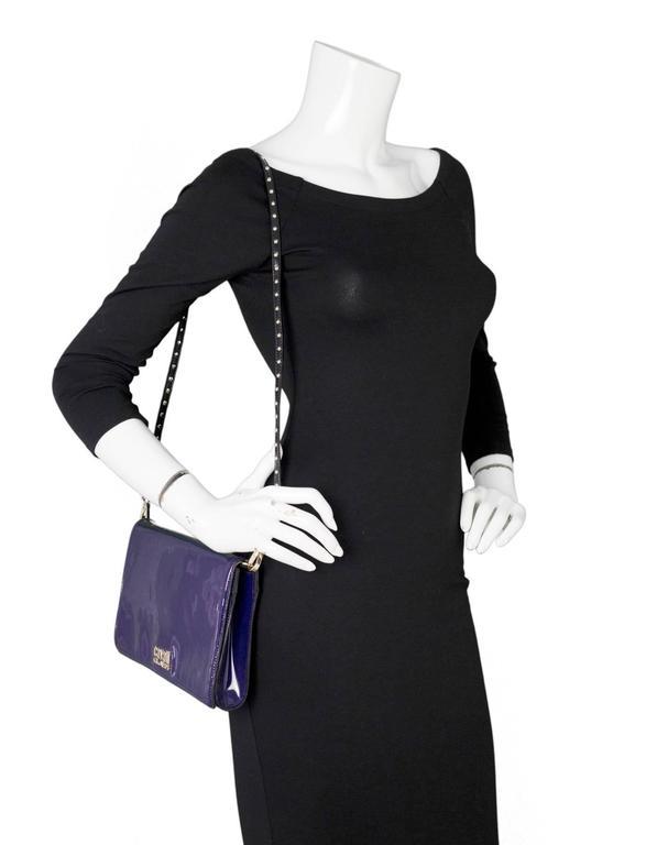 Roberto Cavalli Class Purple Patent Clutch/Shoulder Bag SHW For Sale 6