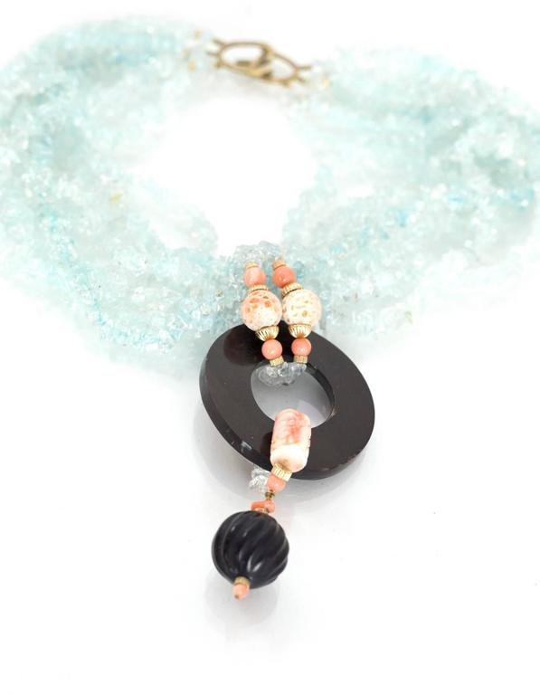 Evelyn Doura Ice Blue Multi-Strand Semi-Precious Stone Necklace In Excellent Condition For Sale In New York, NY