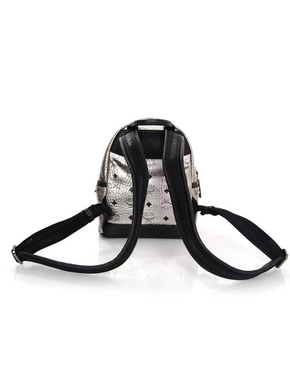 MCM Silver Canvas Monogram Black Crystal Studded Mini Backpack Bag 3