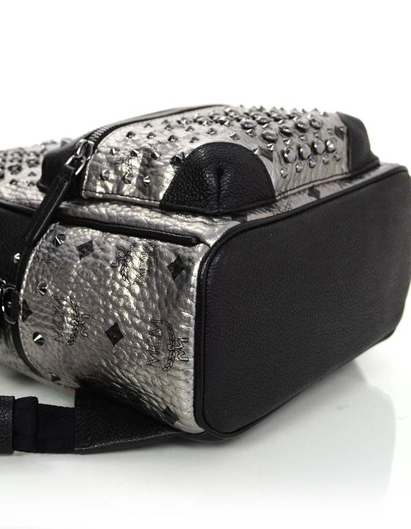 MCM Silver Canvas Monogram Black Crystal Studded Mini Backpack Bag 5
