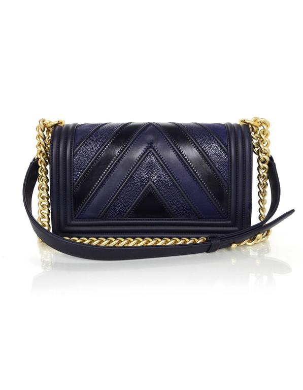 Chanel 2016 Navy Mixed Leather Patchwork Chevron Old Medium Boy Bag GHW 3
