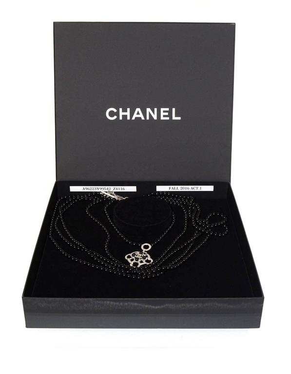 Chanel 2016 Black Beaded 5 Strand Necklace w/ Crystal CC Camellia For Sale 2