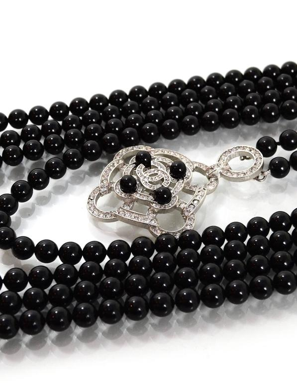 Chanel 2016 Black Beaded 5 Strand Necklace w/ Crystal CC Camellia For Sale 3