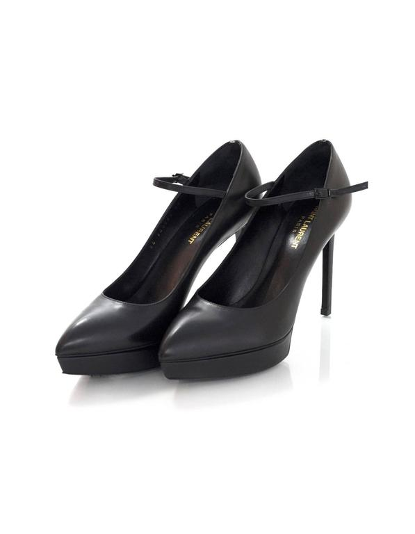 100% Authentic Saint Laurent Janis Mary Jane Pump sz 39. Features pointy toe, stiletto heel with platform and ankle strap with a buckle. Smooth black leather. Comes with original box and dust bag. Excellent pre-owned condition with the exception of