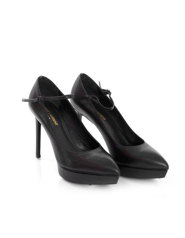 Saint Laurent Black Leather Janis Mary Jane Pump sz 39 For Sale 1