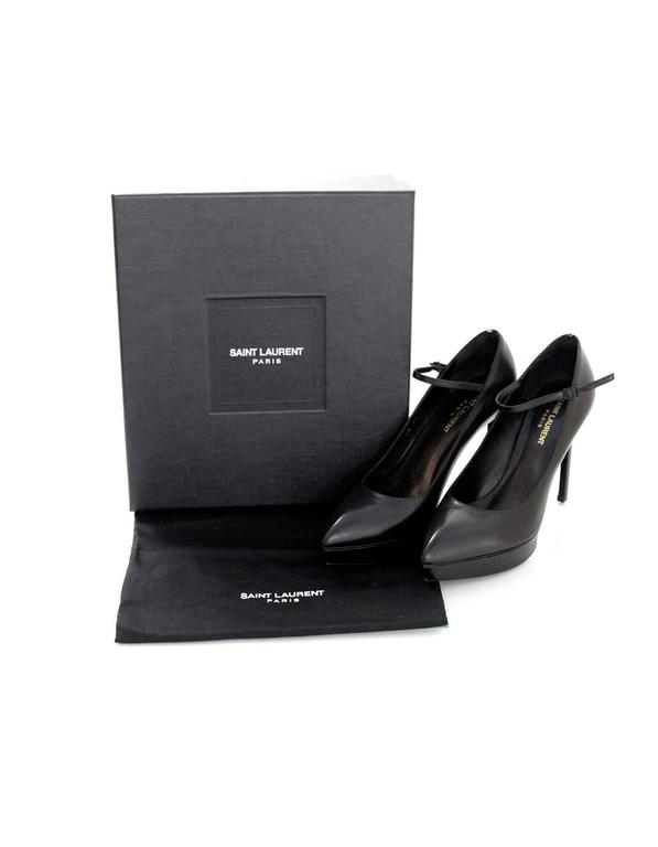 Saint Laurent Black Leather Janis Mary Jane Pump sz 39 For Sale 3