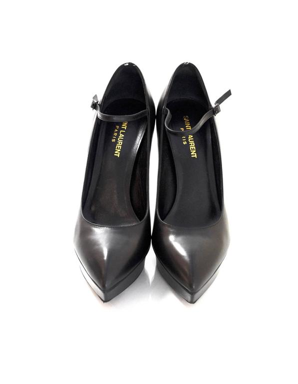 Saint Laurent Black Leather Janis Mary Jane Pump sz 39 In Excellent Condition For Sale In New York, NY