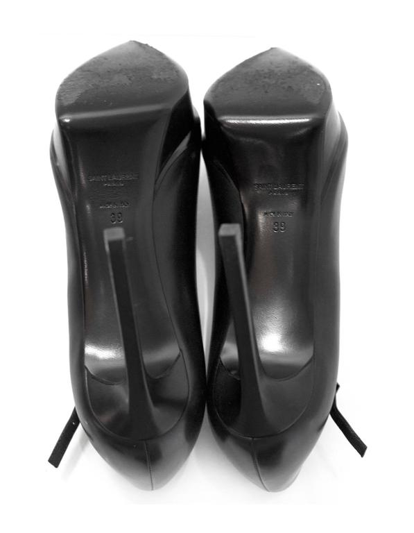 Saint Laurent Black Leather Janis Mary Jane Pump sz 39 For Sale 2