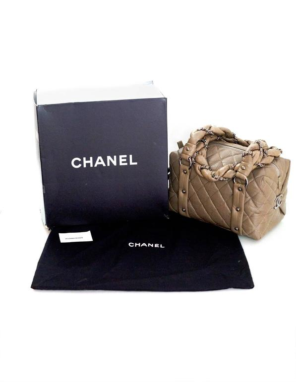 Chanel Taupe Quilted Leather Lady Braid Satchel Bag For Sale 4