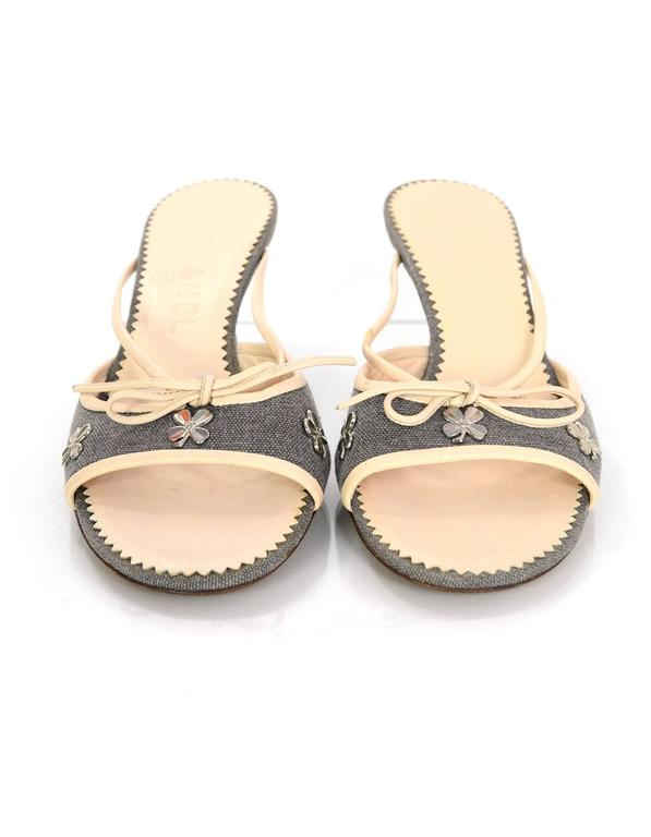 e0c11f7df7 Chanel Grey & Beige Peep-Toe Kitten Heel Mules sz 36 In Excellent Condition  For