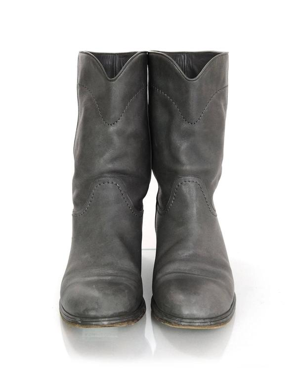 Gray Chanel Grey Leather Calf-High Boots sz 41 For Sale