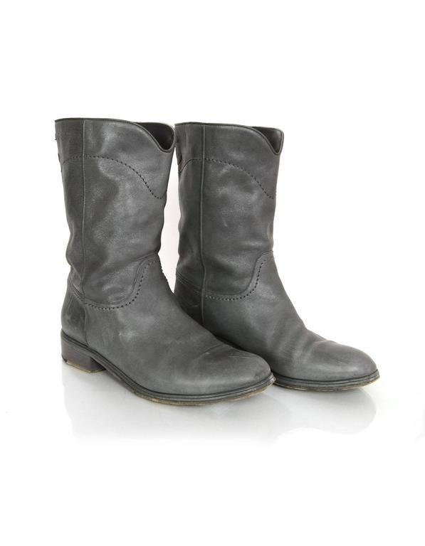 Chanel Grey Leather Calf-High Boots sz 41 In Good Condition For Sale In New York, NY