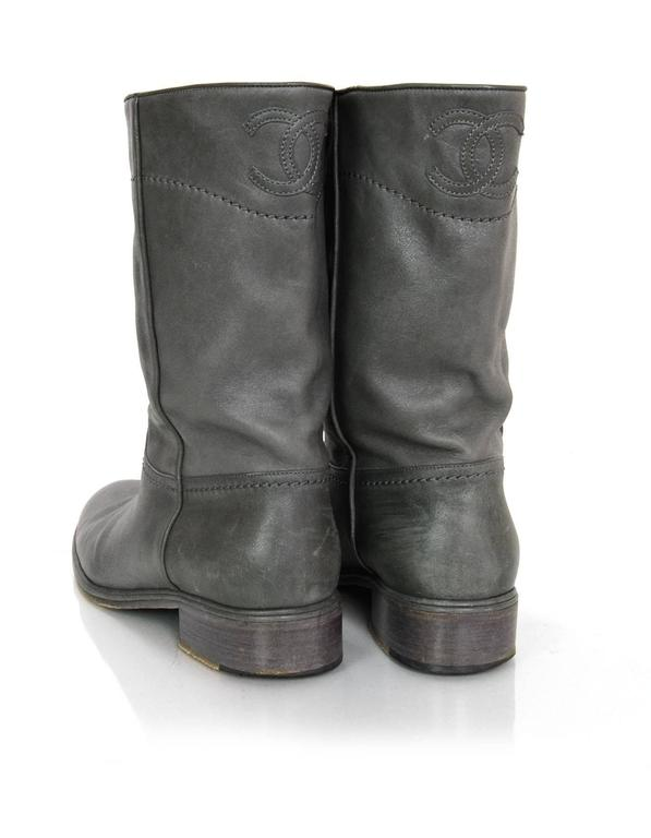 Women's Chanel Grey Leather Calf-High Boots sz 41 For Sale