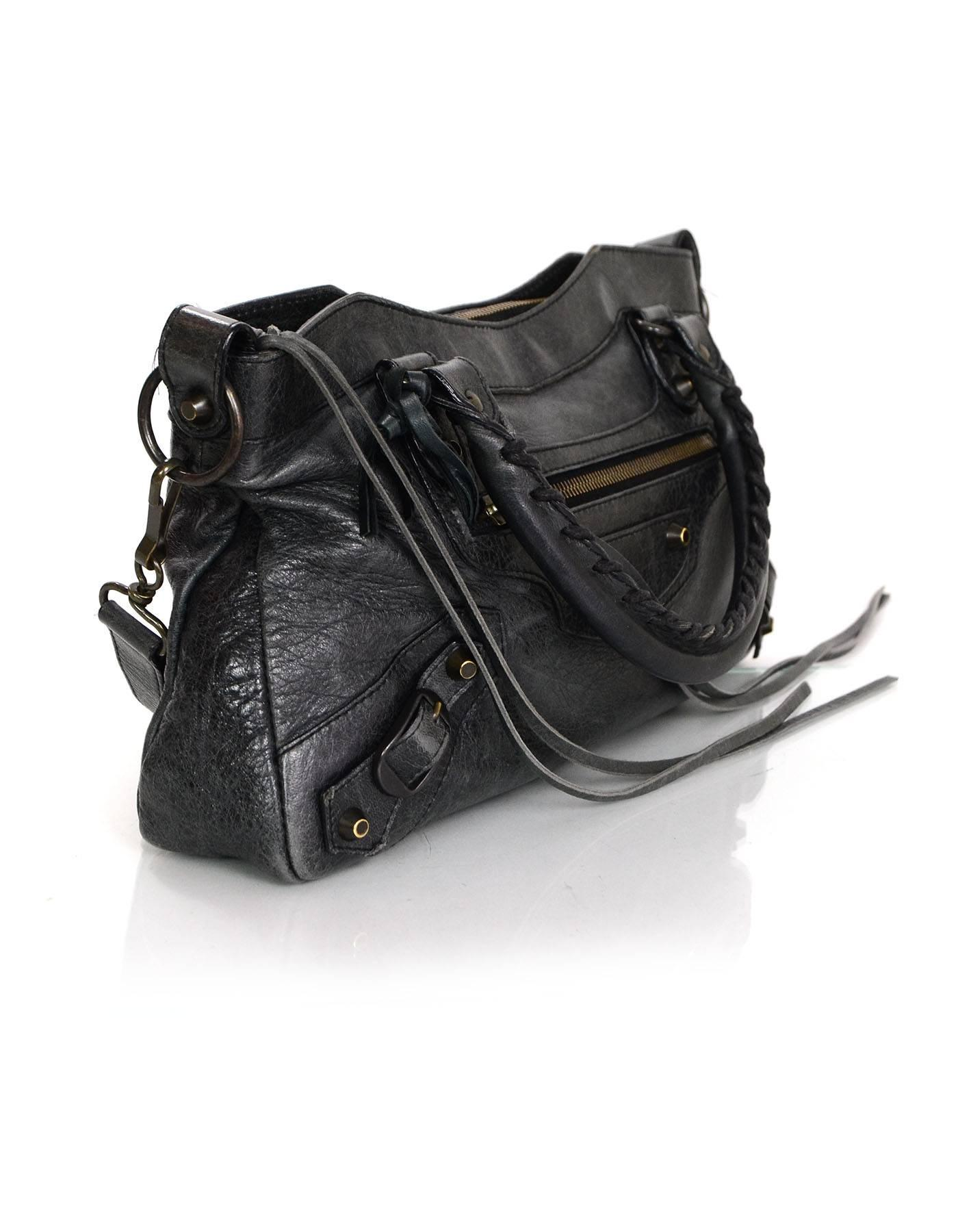 6f2df9d6d30 Balenciaga Charcoal Distressed Leather Classic First City Moto Bag For Sale  at 1stdibs