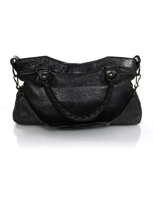 06c038ed105 ... Features optional shoulder strap Made In: Italy. Black Balenciaga  Charcoal Distressed Leather Classic First City Moto Bag For Sale