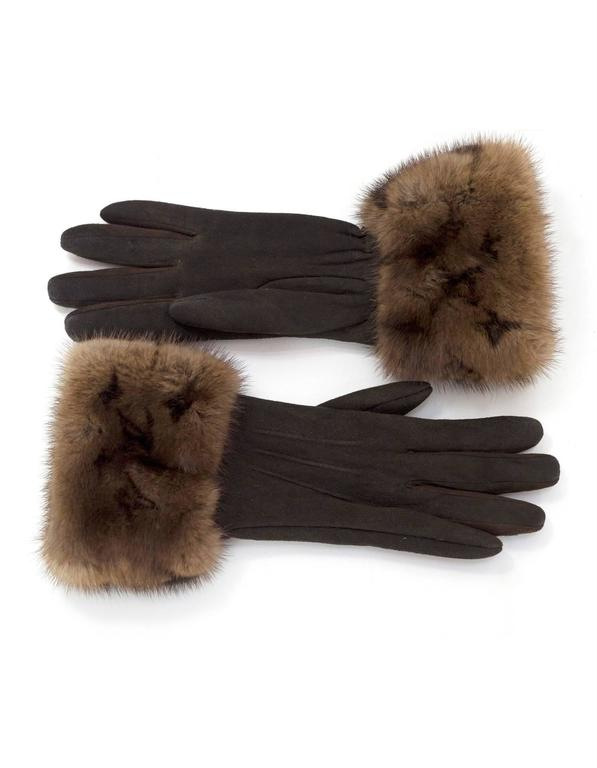 Louis Vuitton Brown Suede & Monogram Mink Fur Gloves sz S 2
