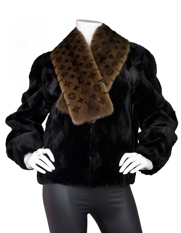 Louis Vuitton Brown Monogram Mink Fur Stole In Excellent Condition For Sale In New York, NY