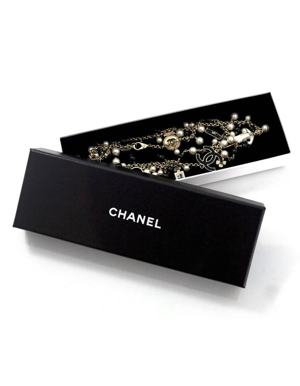 Chanel Pearl & Black Beaded & Iconic Charm Necklace For Sale 1