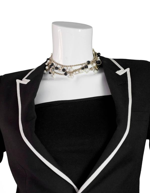 Chanel Pearl & Black Beaded & Iconic Charm Necklace For Sale 2