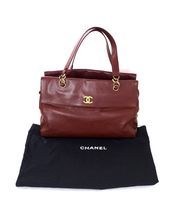 Chanel Burgundy Caviar Leather CC Twist-lock Tote Bag  For Sale 4