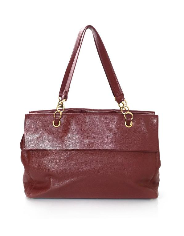 Brown Chanel Burgundy Caviar Leather CC Twist-lock Tote Bag  For Sale