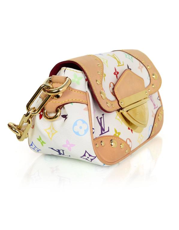 Louis Vuitton Multi Colored Monogram Marilyn Bag Features Tan Leather Trim Throughout Exterior Made In
