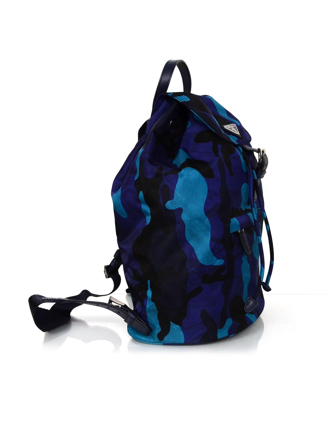 a96a0b656196 Prada Black and Blue Camo Print Nylon Backpack Bag For Sale at 1stdibs