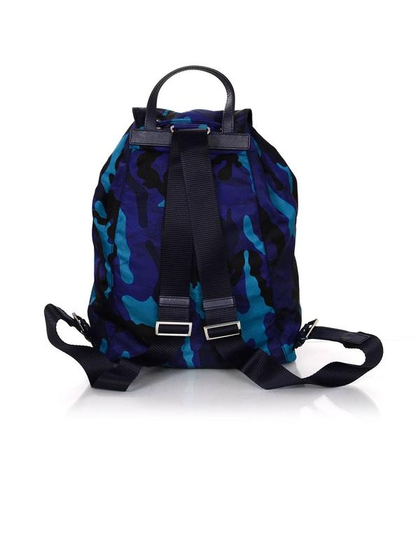 bd99c71a4092 Prada Black & Blue Camo Print Nylon Backpack Bag In Excellent Condition For  Sale In New