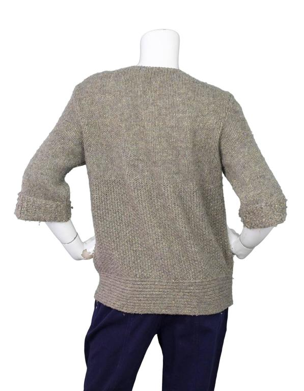 Louis Vuitton Metallic Taupe Wool Double Breasted Sweater sz M 3