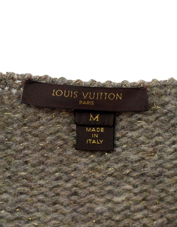 Louis Vuitton Metallic Taupe Wool Double Breasted Sweater sz M 4