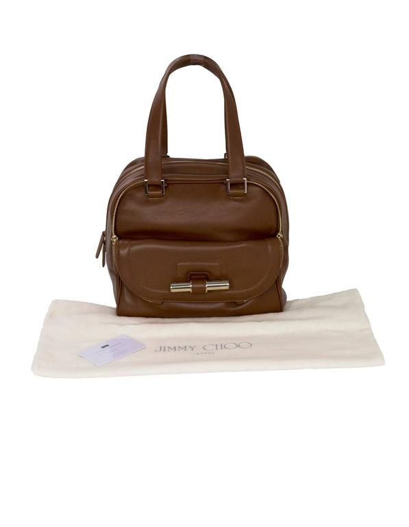 Jimmy Choo Tan Brown Leather Justine Bowler Bag w/ Zipper Detail For Sale 5