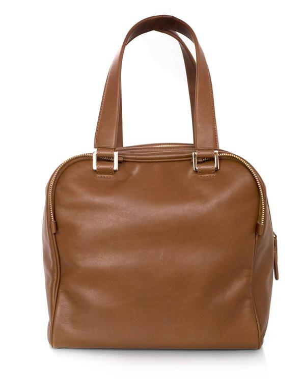 Jimmy Choo Tan Brown Leather Justine Bowler Bag w/ Zipper Detail In Excellent Condition For Sale In New York, NY