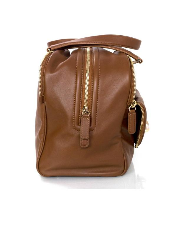 Jimmy Choo Tan Brown Leather Justine Bowler Bag w/ Zipper Detail 2