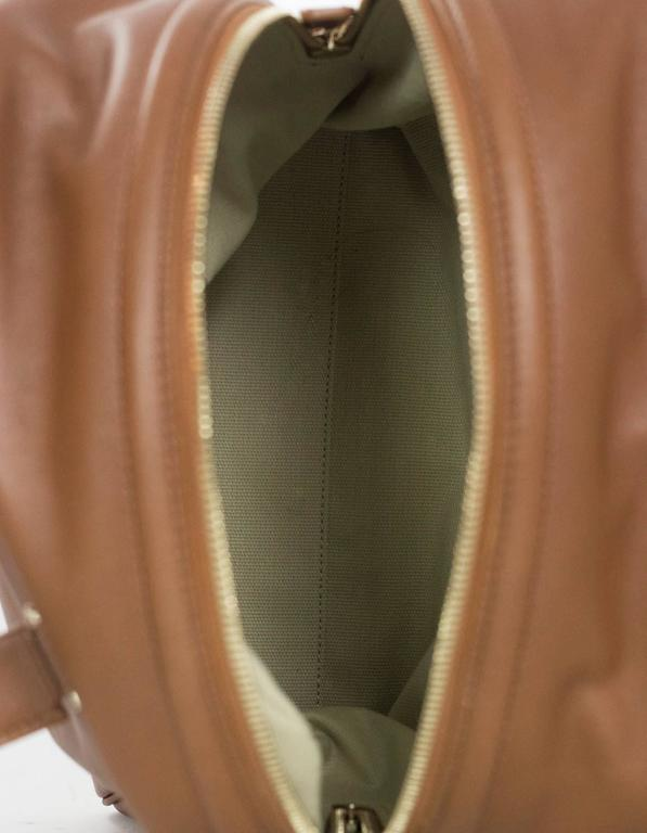 Jimmy Choo Tan Brown Leather Justine Bowler Bag w/ Zipper Detail For Sale 2
