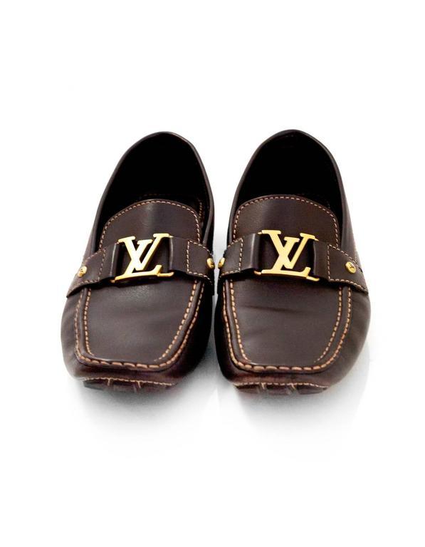 5db3a0cb3450 Black Louis Vuitton Men s Brown Leather Monte Carlo Car Shoes sz US12 For  Sale