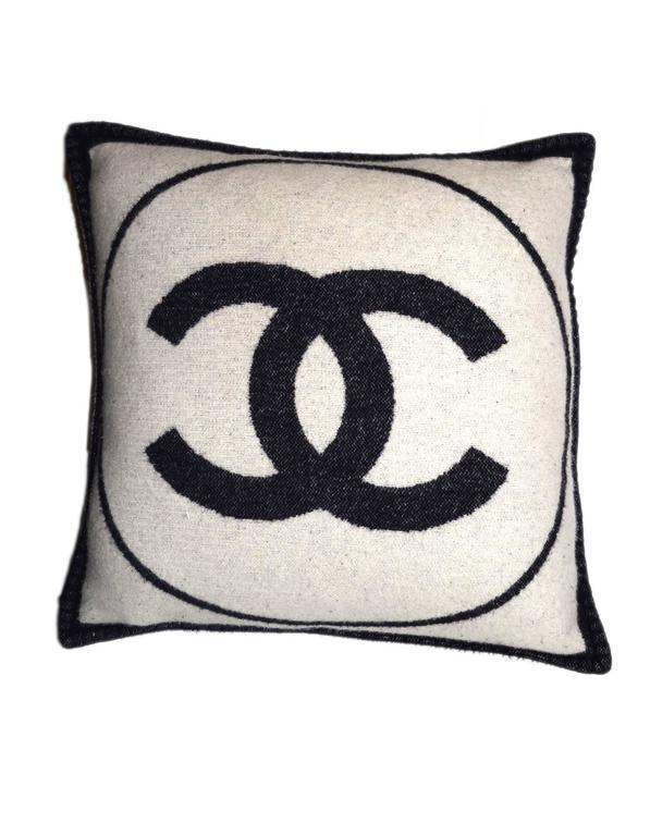 Chanel Navy And White Cashmere Cc Square Pillow For Sale