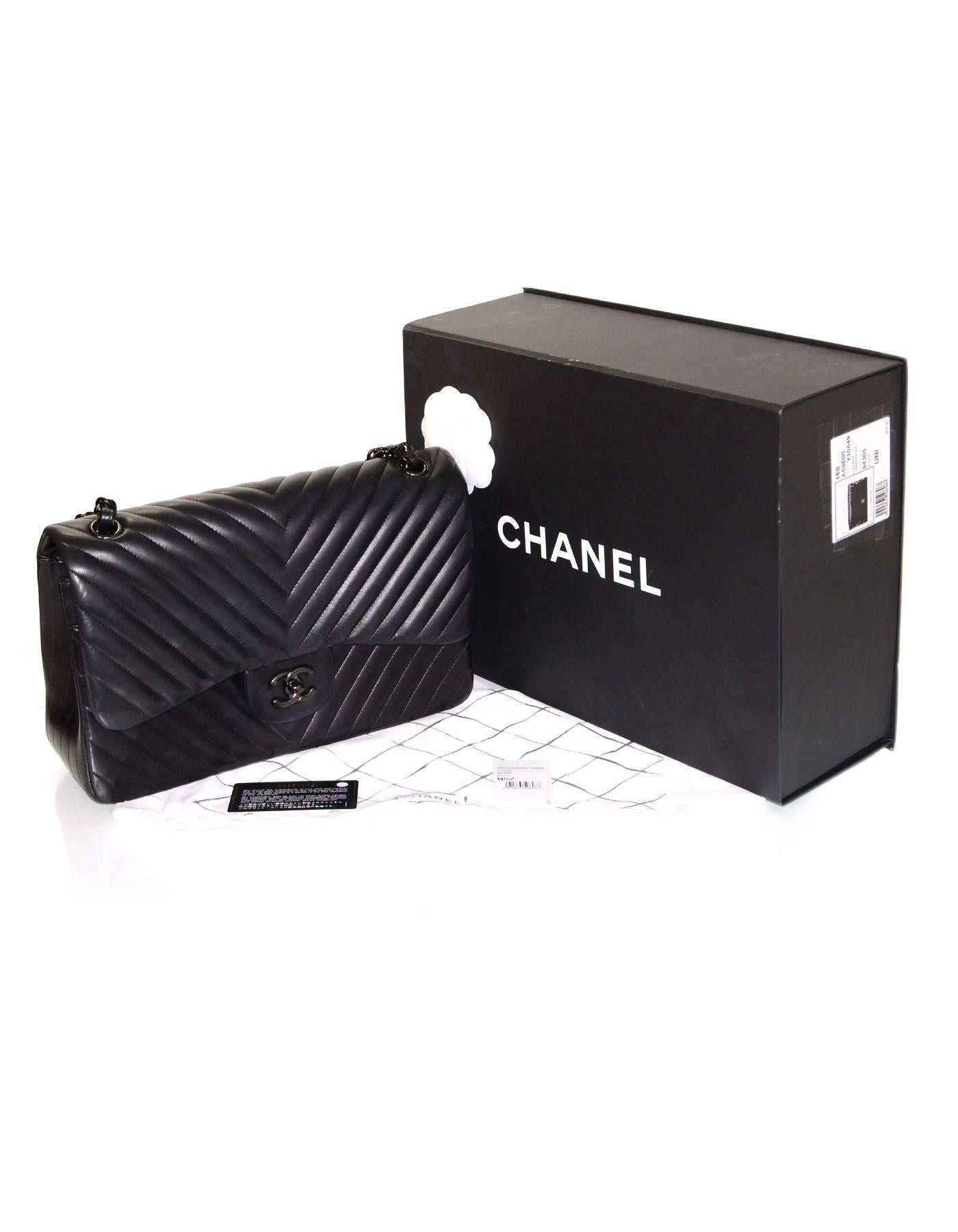 82ad6006d299 Chanel Rare Collectors Sold Out Chevron SO Black Double Flap Jumbo Classic  Bag at 1stdibs