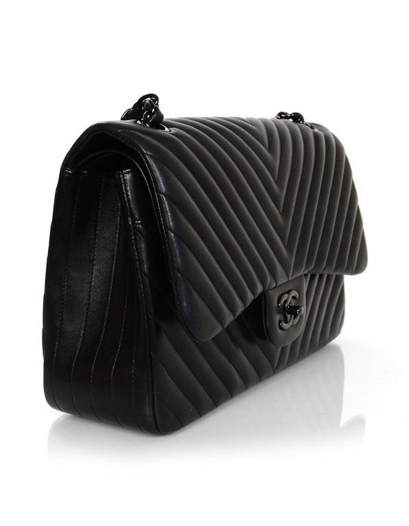 c9d8f6e713989e 100% Authentic Chanel Chevron SO Black Double Flap Classic Jumbo. This bag  is sold