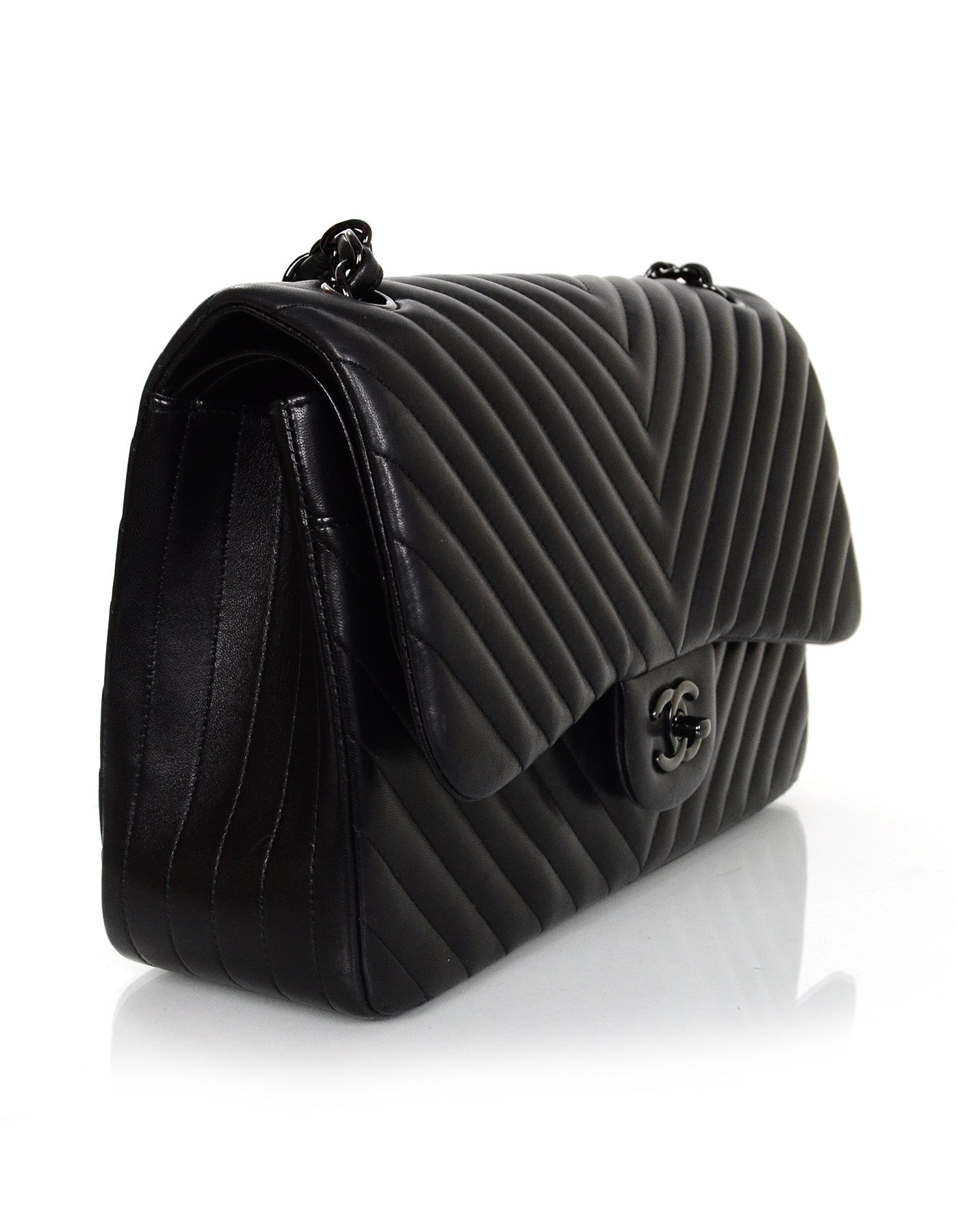 427f6cf6c633 Chanel Rare Collectors Sold Out Chevron SO Black Double Flap Jumbo Classic  Bag at 1stdibs
