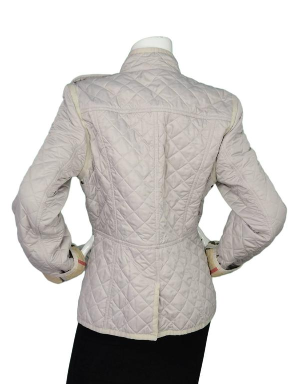 Burberry Brit Beige Nylon Quilted Jacket Sz Xl For Sale At