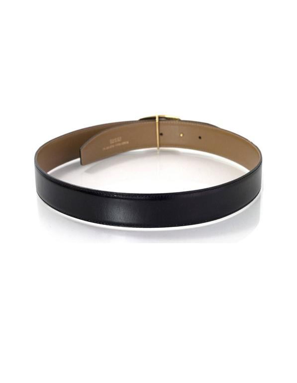 gucci black leather belt w   goldtone g buckle sz 75 for sale at 1stdibs