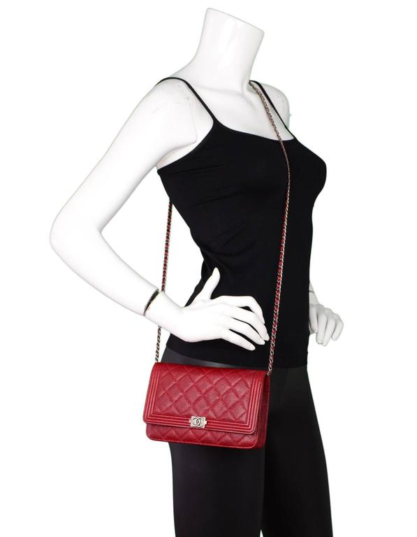 a571e169 Chanel Red Caviar Leather Quilted Boy WOC Wallet on a Chain Crossbody Bag
