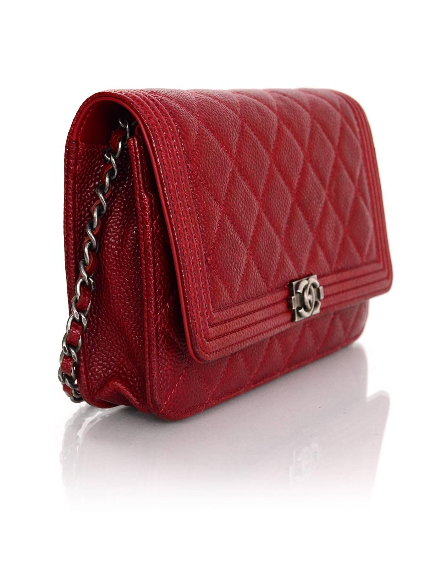 e84c892fd2fd Chanel Red Caviar Leather Quilted Boy WOC Wallet on a Chain Crossbody Bag  For Sale at 1stdibs