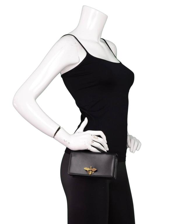Christian Dior '17 Black Calfskin Bee Pouch Clutch Bag 5