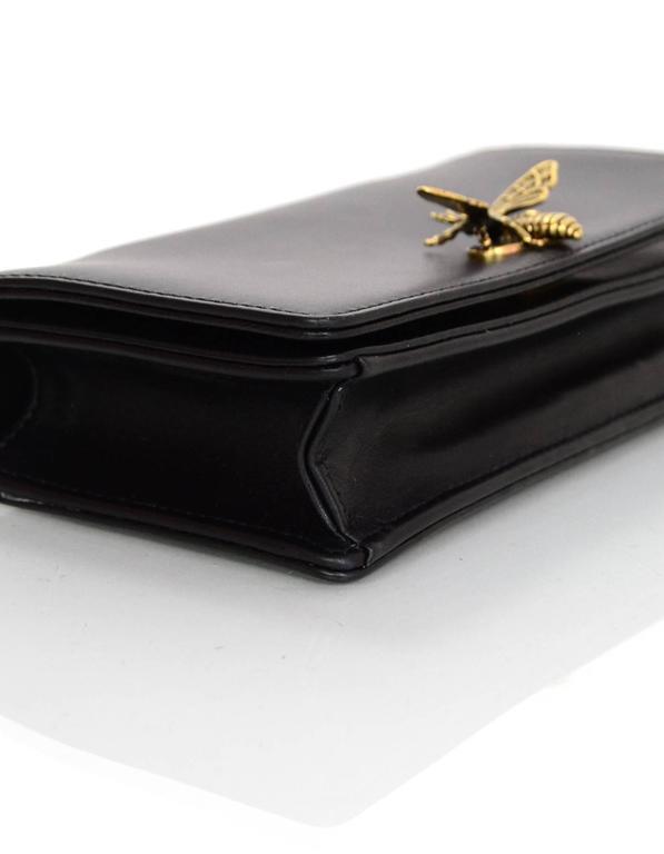 Women's Christian Dior '17 Black Calfskin Bee Pouch Clutch Bag